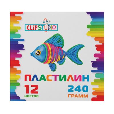 583-253 Пластилин, 12 цветов, 240 гр, ClipStudio