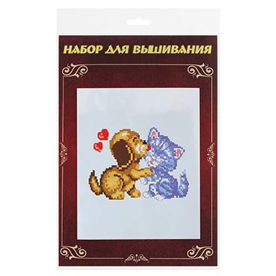 """366-194 Набор для вышивки 20х28см """"Это все любовь!"""" (канва, нитки мулине, игла), 5-8 дизайнов"""