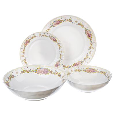 """818-123 Набор столовой посуды 19 предметов, опаловое стекло, MILLIMI """"Вероника"""""""