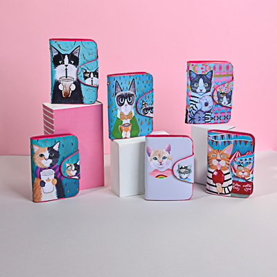 "333-046 PAVO Визитница на 26 карт ""Забавные котики"", ПВХ, 10,5х7,5х1,5см, 6 дизайнов"