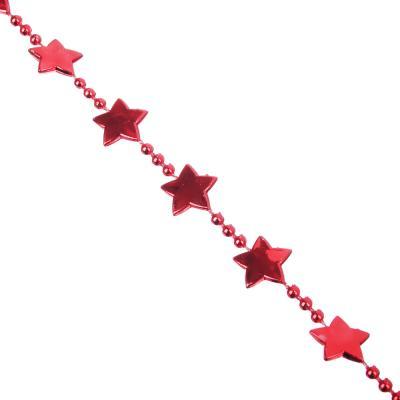 378-217 СНОУ БУМ Бусы декоративные со звездочками, 200см, пластик, 4 цвета VG3, VB4, VR1, VS