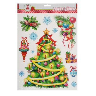 336-181 Новогодние наклейки СНОУ БУМ ПВХ с глиттером 30х42 см, 3 дизайна