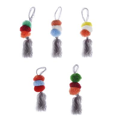 308-209 Подвеска с кистью и помпонами, d2см, 1шт, 5 цветов