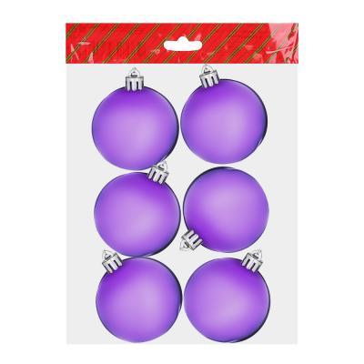 372-320 Елочные шары набор СНОУ БУМ 6шт, 6см, пластик, в пакете, ассортимент цветов, глянец