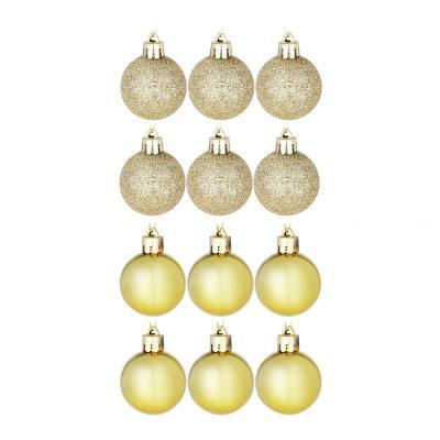 372-322 Елочные шары набор СНОУ БУМ 12шт, 4см, пластик, в пакете, золото