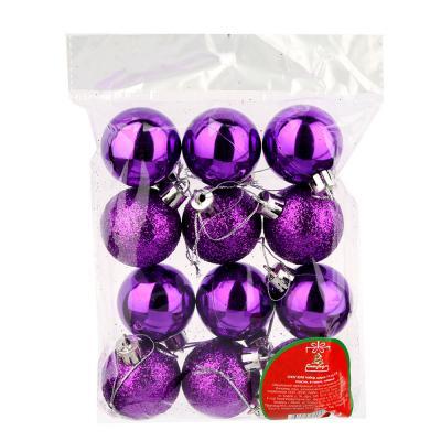 372-326 СНОУ БУМ Набор шаров 12шт, 4см, пластик, в пакете, лиловый