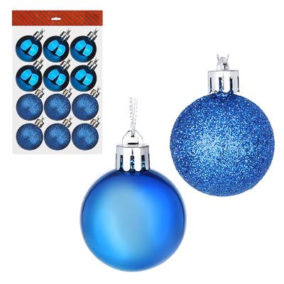 372-328 СНОУ БУМ Набор шаров 12шт, 4см, пластик, в пакете, синий