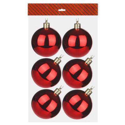 372-329 Елочные шары набор СНОУ БУМ 6шт, 6см, пластик, в пакете, красный, глянец
