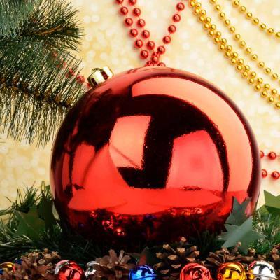 372-358 Елочный шар СНОУ БУМ 20 см, пластик, 1 шт, в пакете, красный