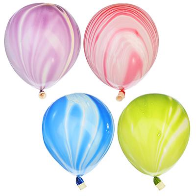 """518-027 Шары воздушные, 5 шт, резина, 12"""", мраморные, 4 цвета"""