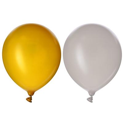 """518-029 Шары воздушные, 5 шт, резина, 12"""", металлик, 2 цвета: золото и серебро"""