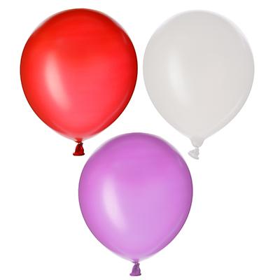 """518-030 Шары воздушные, 6 шт, резина, 12"""", 3 цвета: розовые, красные, белые"""