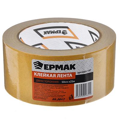 669-197 ЕРМАК Клейкая лента двухсторонняя 50мм х 25м, (полипропилен, инд.упаковка)