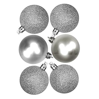 373-134 СНОУ БУМ Набор шаров 6шт, 6см, пластик, серебро