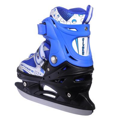 110-002 Коньки ледовые раздвижные M:34-38, синий, SILAPRO