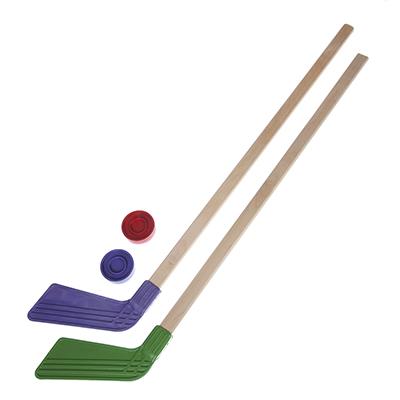 114-004 Набор для хоккея: клюшка детская хоккейная 80см 2шт, 2 шайбы