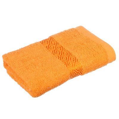 """489-094 Полотенце махровое, 100% хлопок, 50х100см, """"Соты"""", оранжевый"""