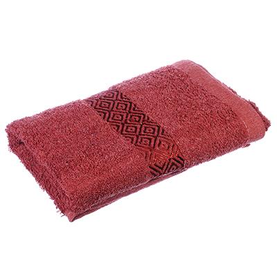 """489-101 Полотенце для лица махровое, хлопк, 50х100см, красное,""""Соты"""""""