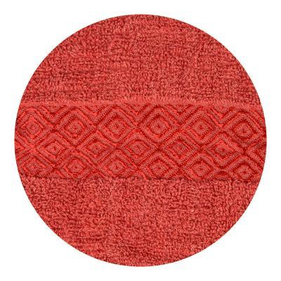 """484-792 Полотенце махровое, 100% хлопок, 70х140см, """"Соты"""", красный"""