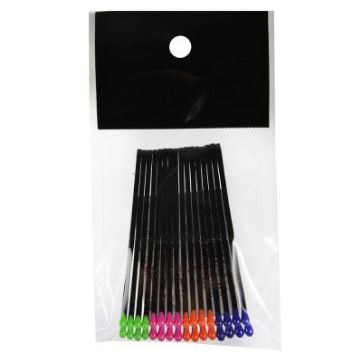 323-203 Набор невидимок для волос 16шт., 6 см, металл, PVC, черные с цветными наконечниками