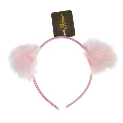 316-221 Ободок для волос с декором, искусcтвенный мех, полиэстер, пластик, 0,9 см, 3 цвета