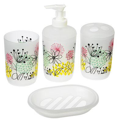 463-803 VETTA Набор для ванной 4 пр., пластик, в прозрачном боксе, цветы жёлто-зелёный