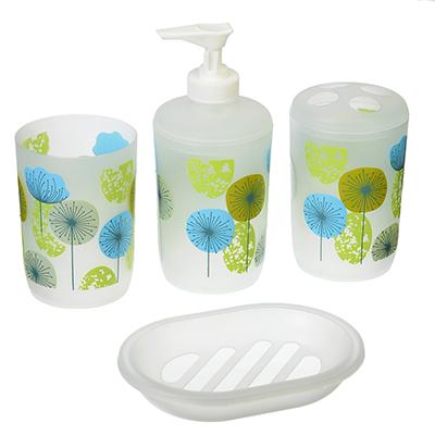 463-805 Набор для ванной 4 пр., пластик, в прозрачном боксе, голубой, VETTA