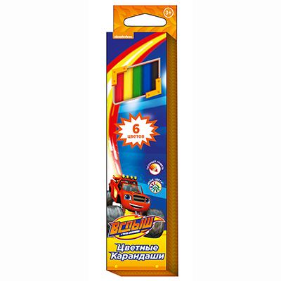 "230-048 РОСМЭН Набор цветных карандашей ""Вспыш"" 6 цветов, 20,2х4,5х0,8см, 32314"