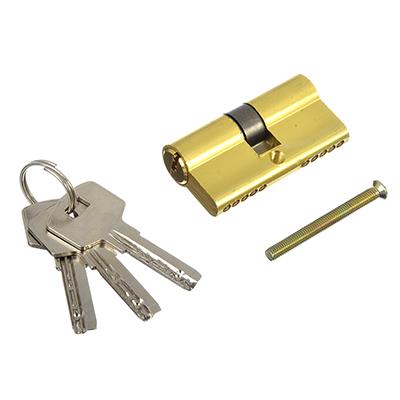 610-034 Сердцевина замка/ Цилиндровый механизм (алюминий/цинк) 60мм(30+30), кл-кл, 3кл (перфо), золото