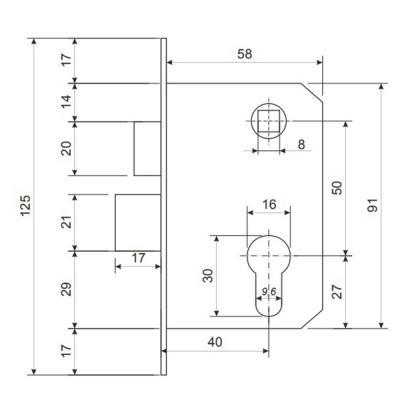 611-147 Замок врезной 0823/60, ключ-ключ, м/о 50мм, хром