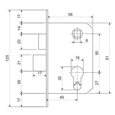 611-149 Замок врезной 0827/60, ключ-ключ , м/о 50мм, хром