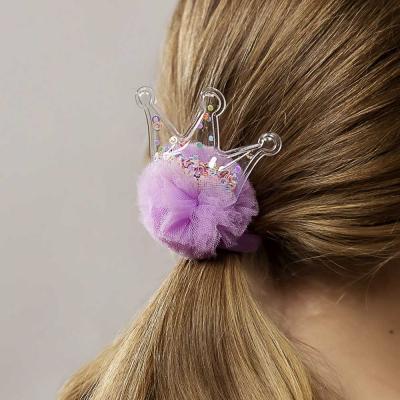 316-252 Резинка для волос с декором, полиэстер, d6 см, 4 цвета