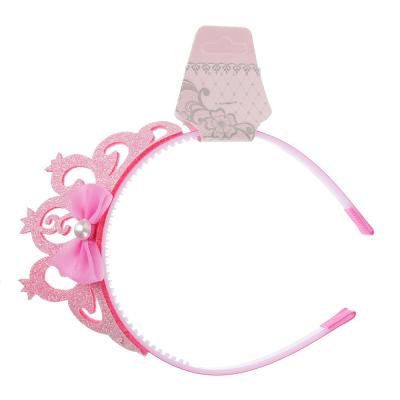 316-257 Ободок для волос с декором, пластик, сплав, полиэстер, 1 см, 4 цвета