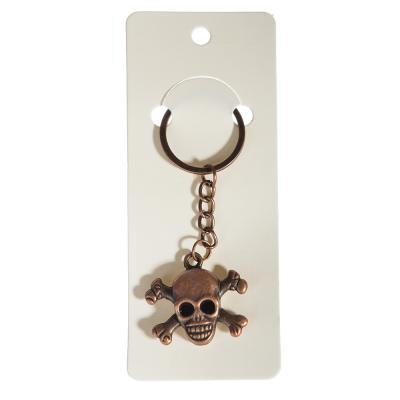 519-321 Брелок в виде черепа с подвижными глазами, 9см, металл