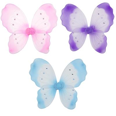 342-064 Костюм карнавальный крылья бабочки, полиэстер, 40х49 см, 4 дизайна, СНОУ БУМ