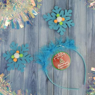 343-085 Ободок карнавальный, пластик, полиэстер, 21х18 см, 6 цветов, СНОУ БУМ
