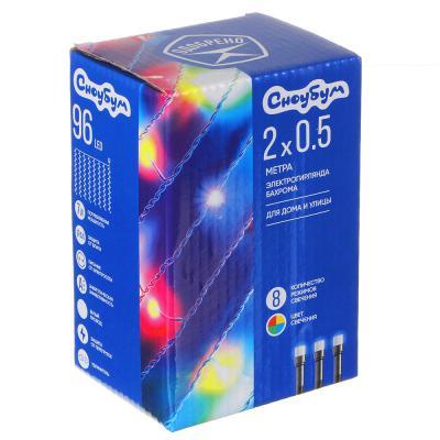 351-483 Гирлянда электрическая Бахрома 96 LED, 2х0,5 м, 16 нитей, 8 режимов, белый провод, 220В