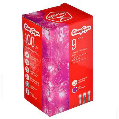 384-049 СНОУ БУМ Гирлянда электрическая вьюн 9м, 100LED, пурпурный, 8 реж, прозр. провод, 220В