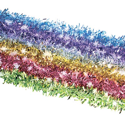 377-313 СНОУ БУМ Мишура, со снежинками, 200х9см, ПВХ, 6 цветов