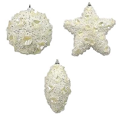 397-198 СНОУ БУМ Белый жемчуг Подвеска 6х12см, пластик, текстиль, 3 дизайна, белый