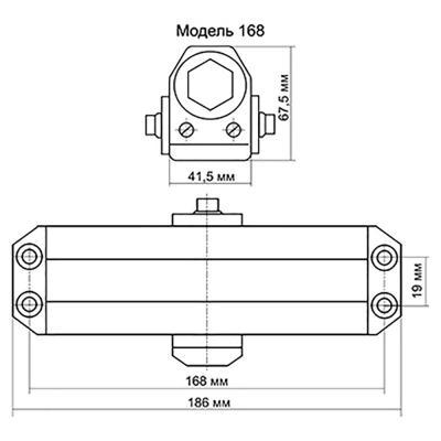 601-013 KORAL Доводчик дверной, морозоустойчивый, HD-168 (60-80кг) серебро