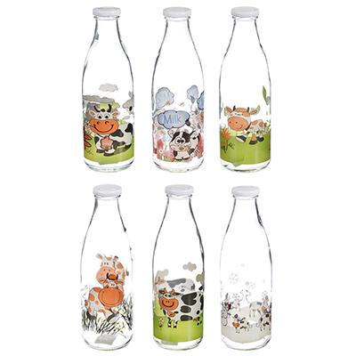 878-321 Бутылка для молока, стекло, 900 мл, 6 дизайнов