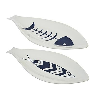 821-693 MILLIMI Форма для запекания/сервировки рыбы, 35х18см, фарфор, 2 дизайна