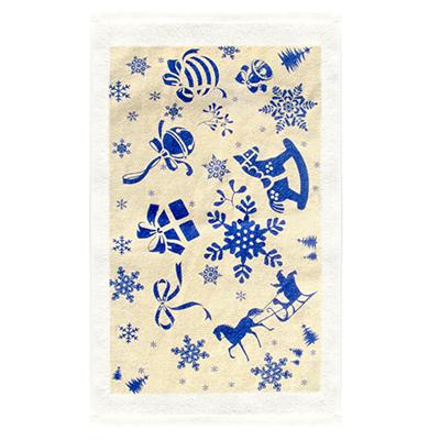 434-020 VETTA Снеговик синий Полотенце, хлопок, 38х63см, дизайн GC