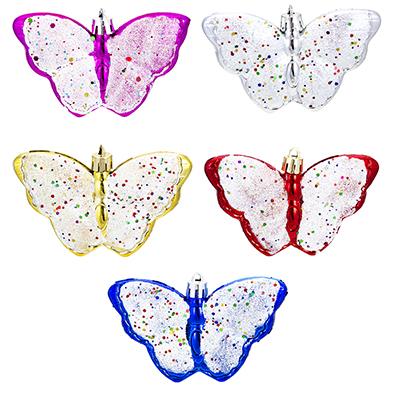 374-192 СНОУ БУМ Набор украшений 2шт, 10см, пластик, в виде бабочки