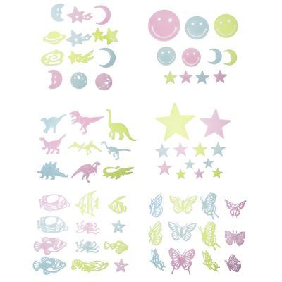 503-508 Набор наклеек флуоресцентных (9-12 шт), пластик, 19х14см, 6 дизайнов