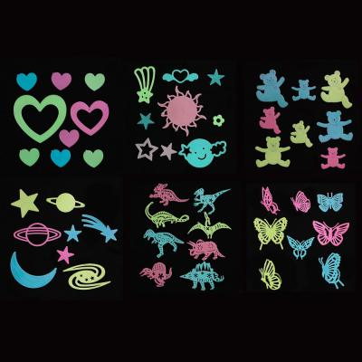 503-510 Набор наклеек флуоресцентных (9-10 шт), пластик, 27,5х24,5 см, 6 дизайнов