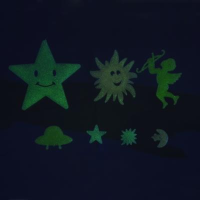503-512 Набор наклеек флуоресцентных (7-10 шт), пластик, 9,5х8см, 2 дизайна, разноцветные