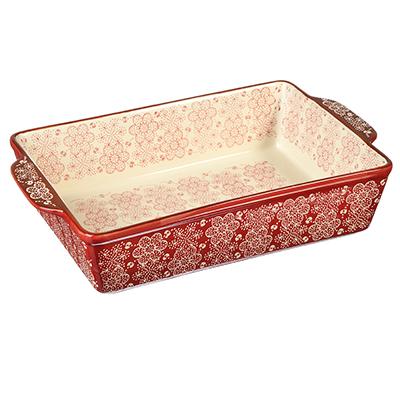 826-247 MILLIMI Форма для запекания и сервир. прямоуг. с ручками, керамика, 31х20х6,5см, красная, новая