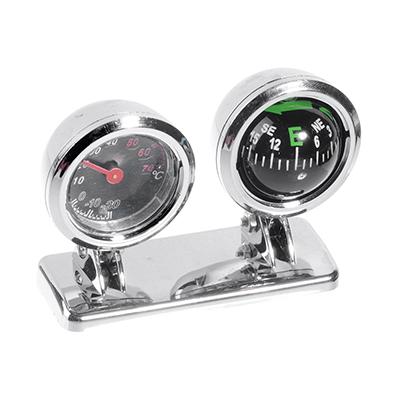 732-051 NEW GALAXY Компас и термометр автомобильные, хром, блистер